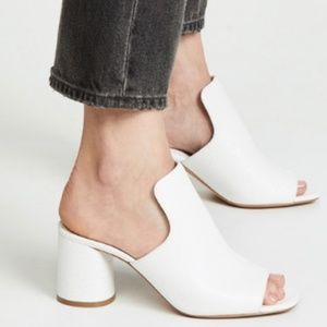 Vince Tanya white crinkled patent leather mule 7.5